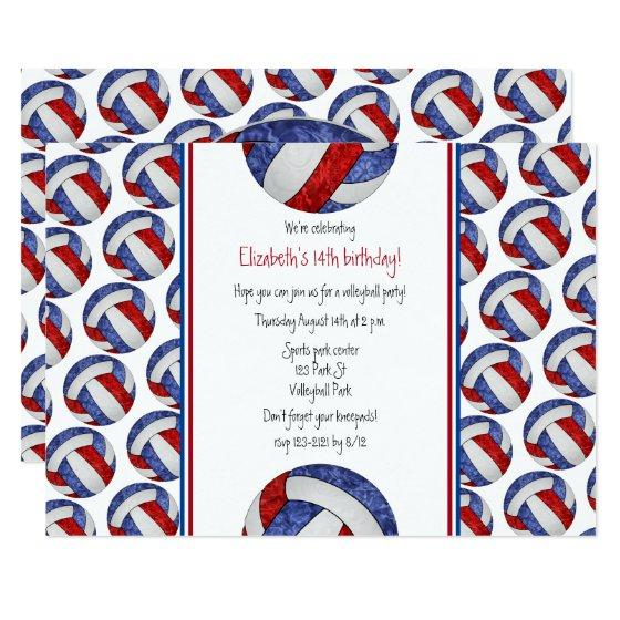 red white blue volleyball girl\u0027s birthday party invitation