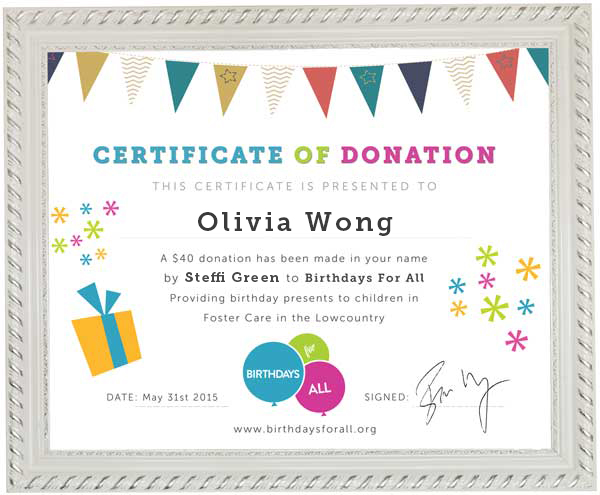 Donate In Honor Of Someone - Birthdays For All - donation certificate template