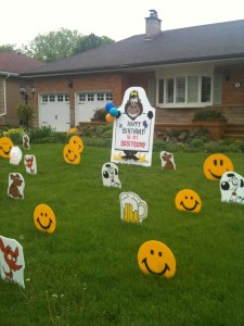 Gorilla Sign with Smiley faces and Dogs BorthdaySigns.ca