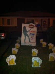 Party On Lawn Greetings with Rocker and Beer mugs