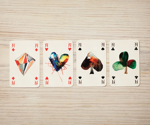Artistic Playing Cards Created With Watercolor  Pencil Bit Rebels