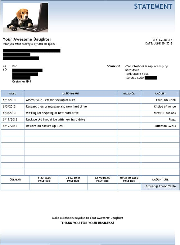 Creative Computer Invoice To Give Dad When He Asks For Tech Support