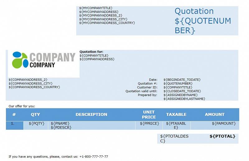 Bitrix24 Blogs - customer quote template