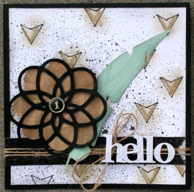 Make your own stencil. Trendy gold arrows card.