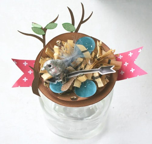 Shabby chic paper bird nest party favors and gift packaging.