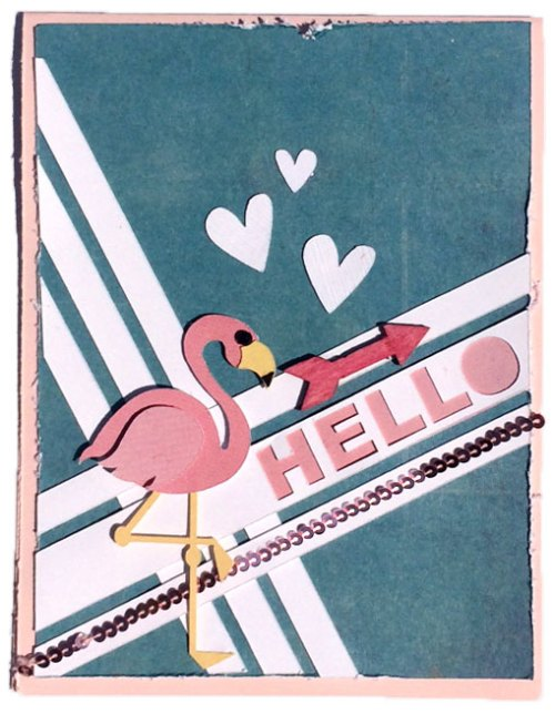 Handmade Flamingo Card