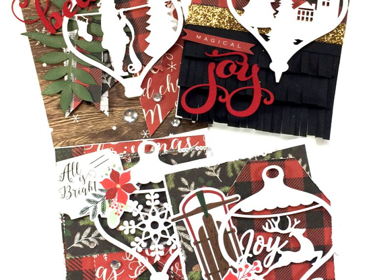 Christmas Ornament Scene Cards with My Minds Eye Comfort and Joy Collection.