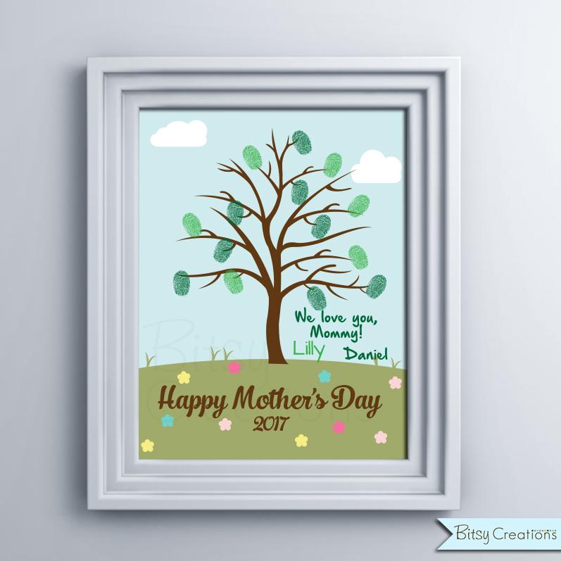 Fingerprint Mother\u0027s Day Printable Tree