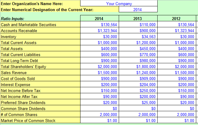 financial ratios template excel