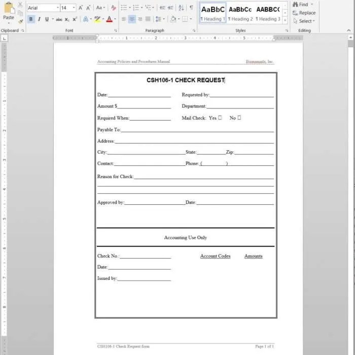 Accounting Forms Archives Bizmanualz - check request template