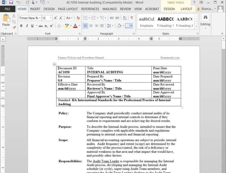 Free Sample Policies and Procedures Template - audit template sample
