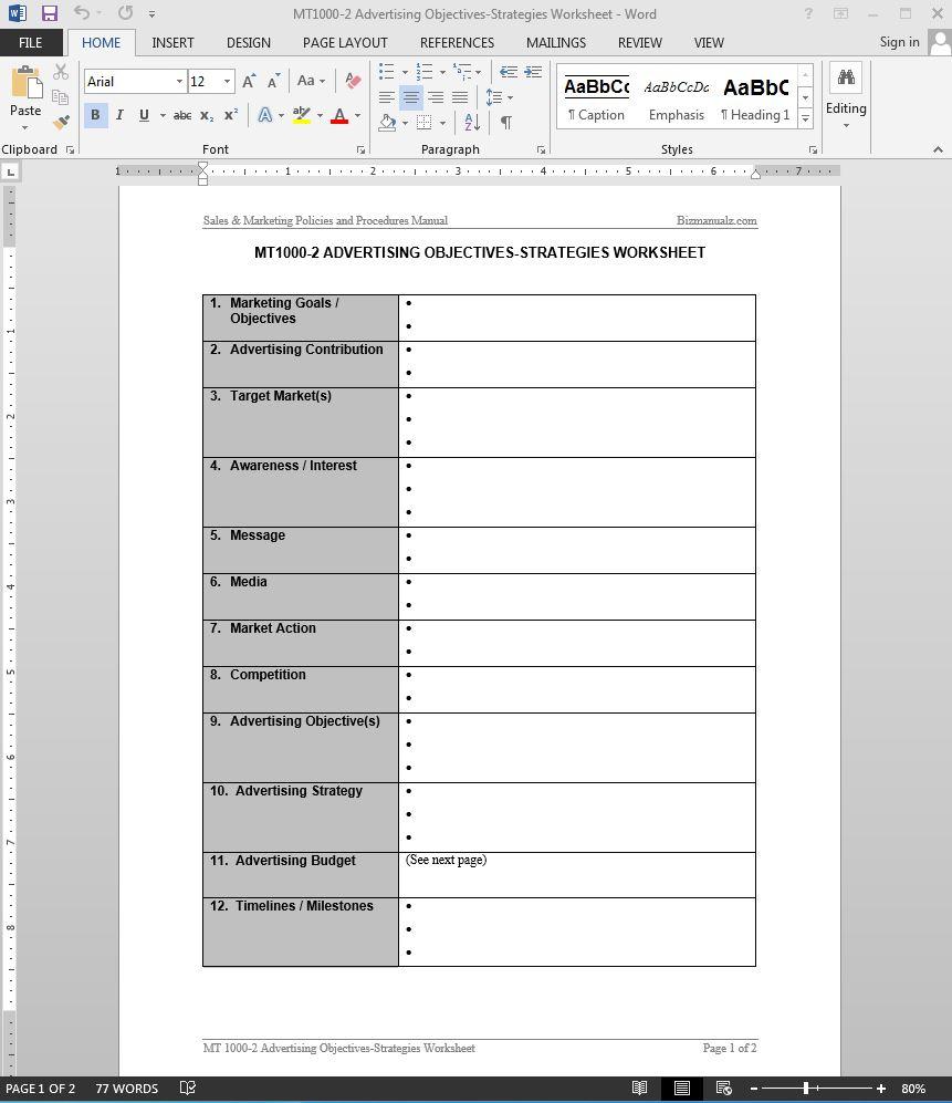 Strategic Business Plan Template Free Microsoft Word Advertising Objectives Strategies Worksheet Template