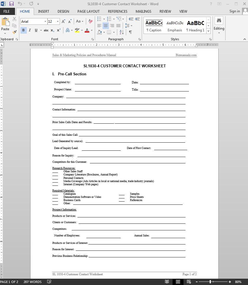 Sales Call Plan Template | Sample Customer Service Resume