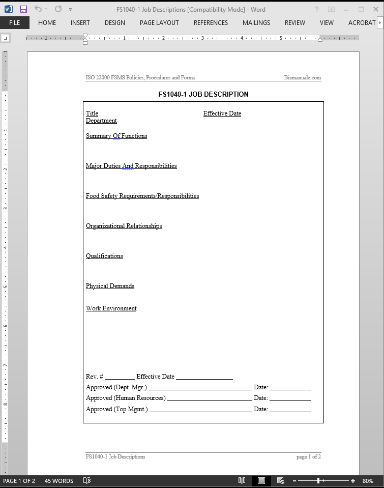 Manual Writing Template Sample Procedure Manual 7 Documents in – Manual Writing Template