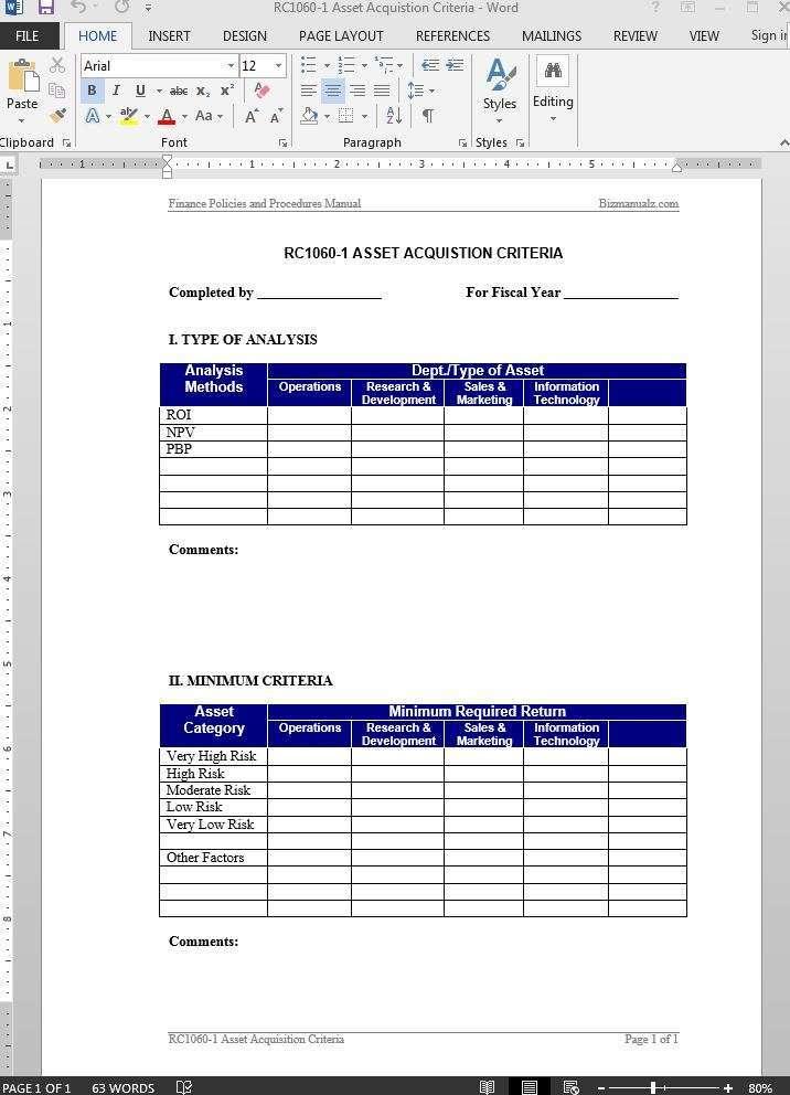 Asset Acquistion Criteria Guide Template - method of procedure template
