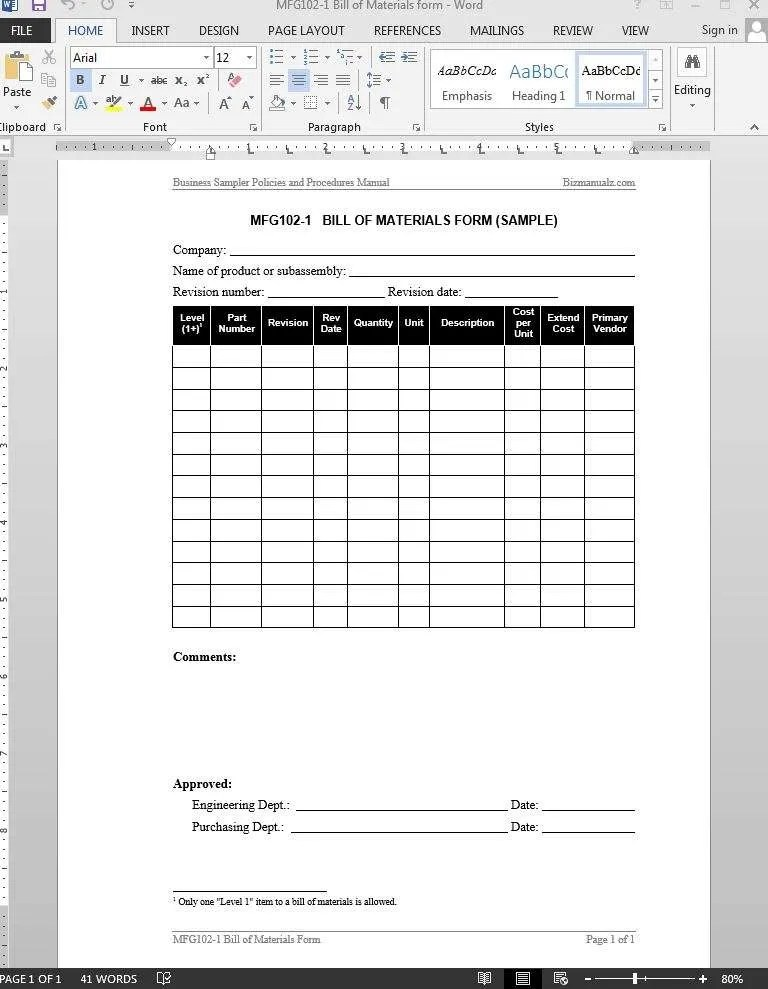 Bill of Materials Report Template