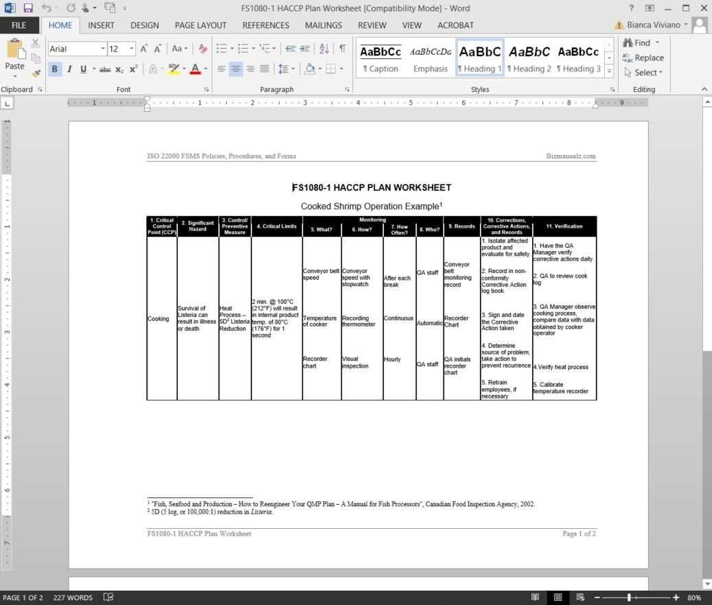 Haccp Recipe Template Contegri Com