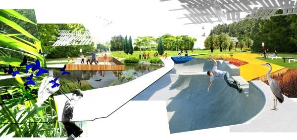 skateparc et bassins aquatiques.