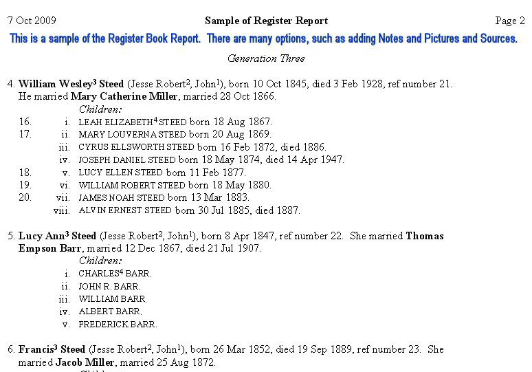 Brothers Keeper Genealogy Program Sample Reports - sample report
