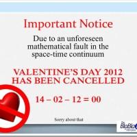 Valentine's Day Cancellation Notice