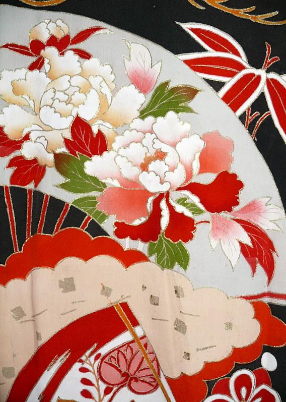 Black And White Wallpaper Pattern Japanese Wedding Antique Silk Kimono 1920 S Japanese