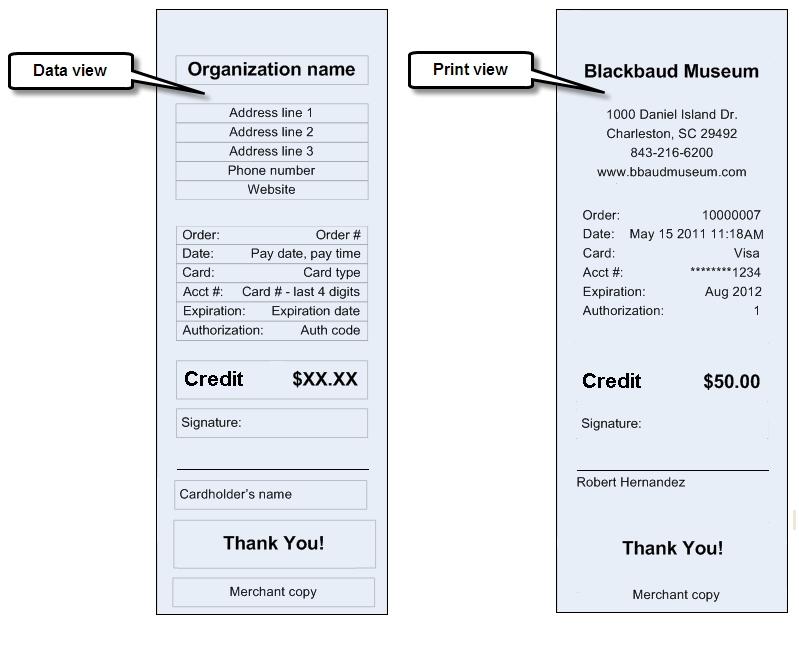 Refund Credit Card Receipt Report - customer receipt template