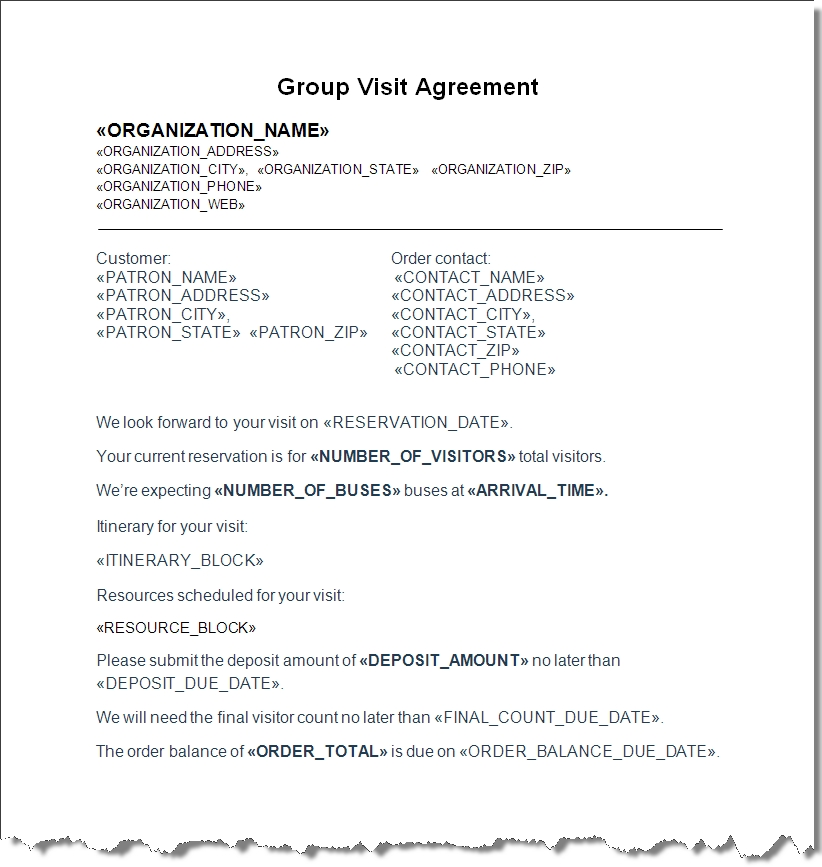 Group Sales Contract with Itinerary and Resources - sales contract