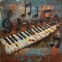 Piano Keys and Musical Notes 3D Metal Wall Art ...