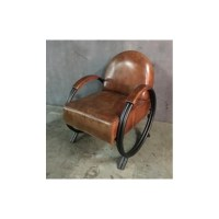 Large Leather Chair with Metal Handles - Blackbrook Interiors