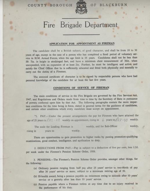 Blackburn County Borough Fire Brigade Job Application Form - fire service application form