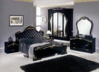 Judy  Italian Classic Black Bedroom Set (Leather ...