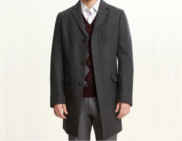 Banana Republic Plaid Topcoat, $298   Patterns are your friend. This plaid design adds a bit of splash to this classic grey topcoat and, in turn, you.
