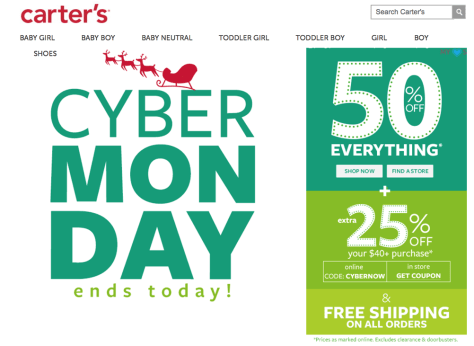 Carters Cyber Monday 2015 Ad - Page 1