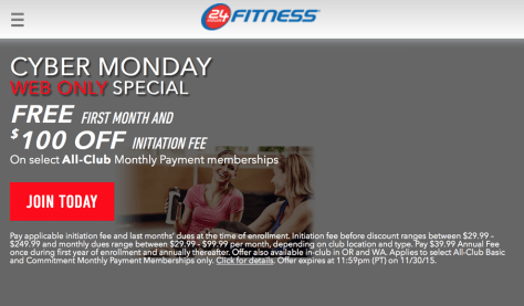 24 Hour Fitness Cyber Monday 2015 Ad - Page 1