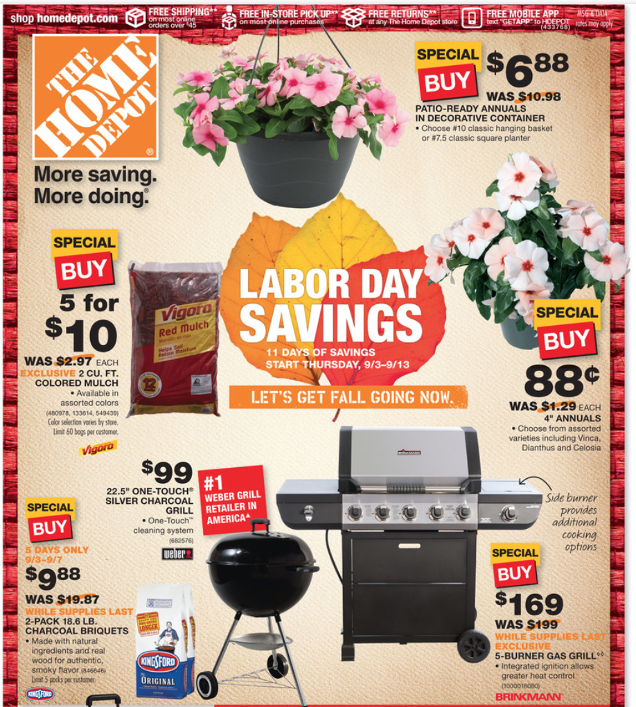 Aug 29,  · Home Depot is cutting up to 50% off select tools, flashlights, flooring, furniture, painting supplies, and more during its Labor Day 3 Days to Save Event. You can get free shipping on select items and orders of $45 or more.