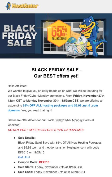 Hostgator Black Friday 2015 Ad - Page 1