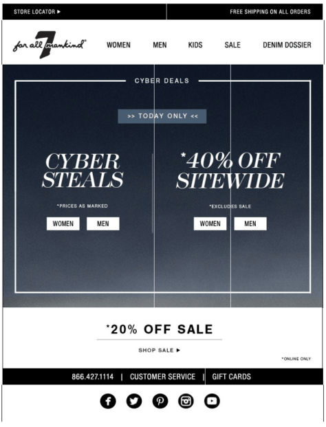 7 for All Mankind Cyber Monday Ad - Page 1