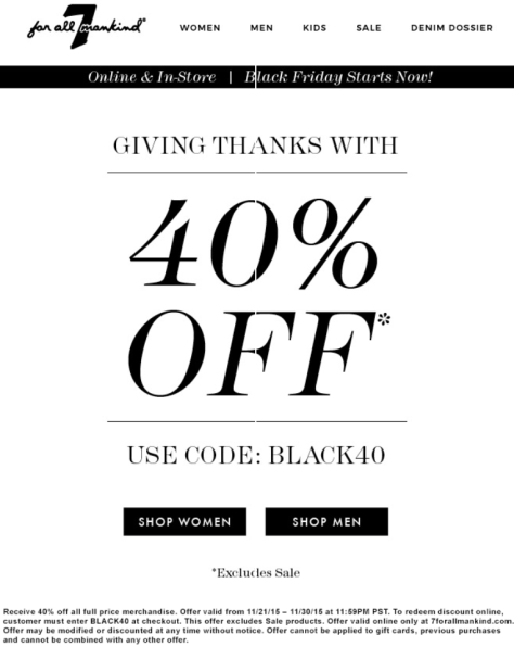7 for all mankind Cyber Monday 2015 Ad - Page 1