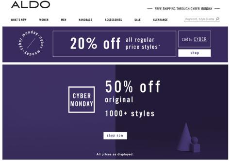 Aldo Cyber Monday 2015 Ad - Page 1