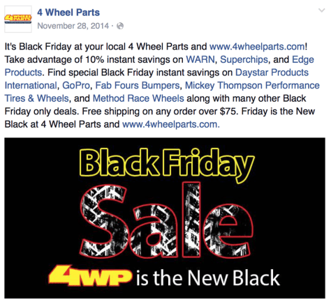 4 Wheel Parts Black Friday Ad - Page 1