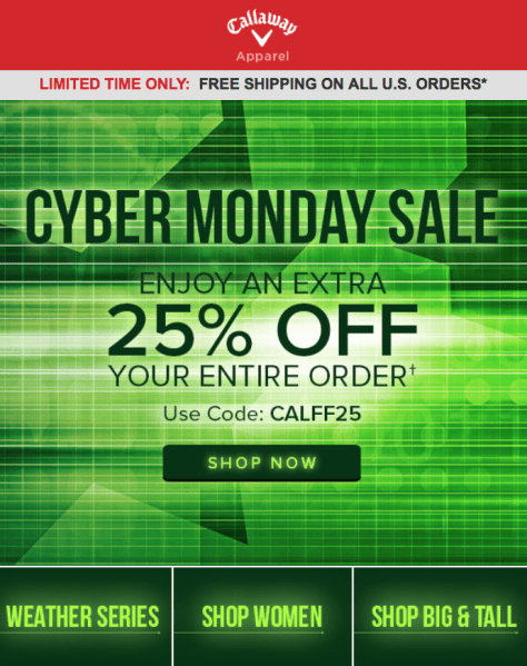 Callaway Cyber Monday Ad - Page 1