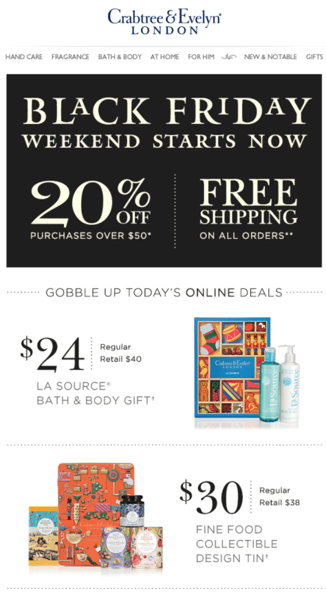 Any Crabtree and Evelyn fans? Well, they're offering up some Black Friday deals NOW! Well, they're offering up some Black Friday deals NOW! Plus, through November 26th, score free shipping on orders of $25 or more (NO promo code needed)!