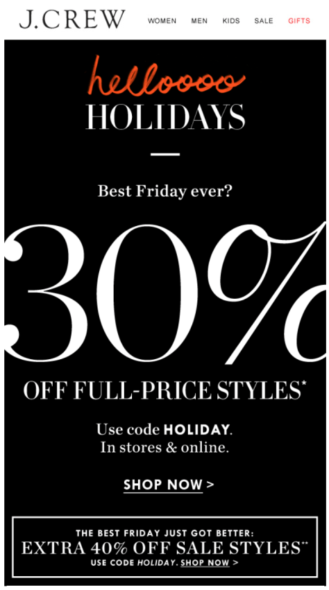 J Crew Black Friday Ad - Page 1