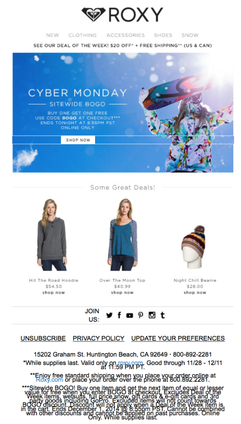 Roxy Cyber Monday Ad - Page 1