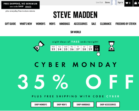 Steve Madden Cyber Monday 2015 Ad - Page 1