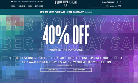 True Religion Cyber Monday 2015 Ad - Page 1