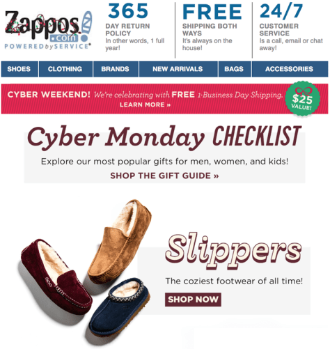 Zappos Cyber Monday 2015 Ad - Page 1