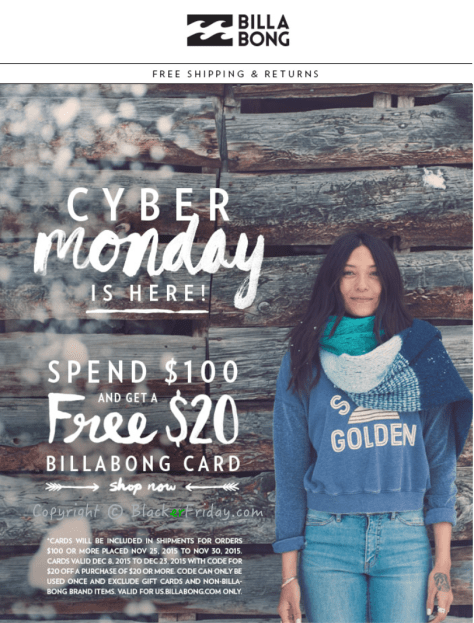Billabong Cyber Monday Ad Scan - Page 1