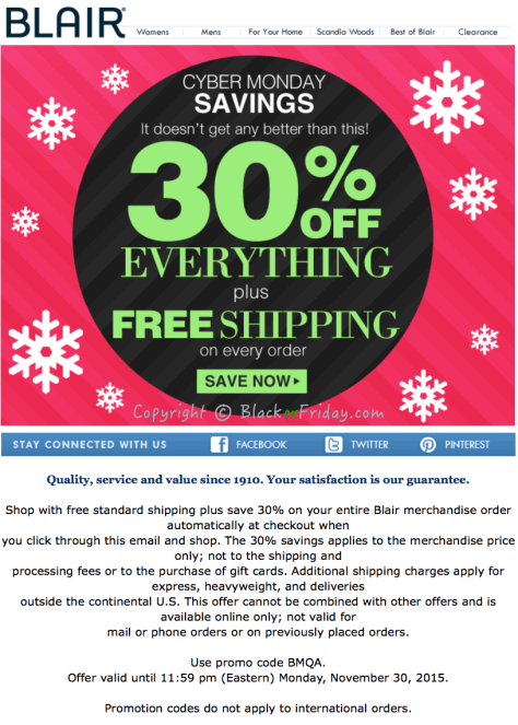 Blair Cyber Monday Ad Scan - Page 1