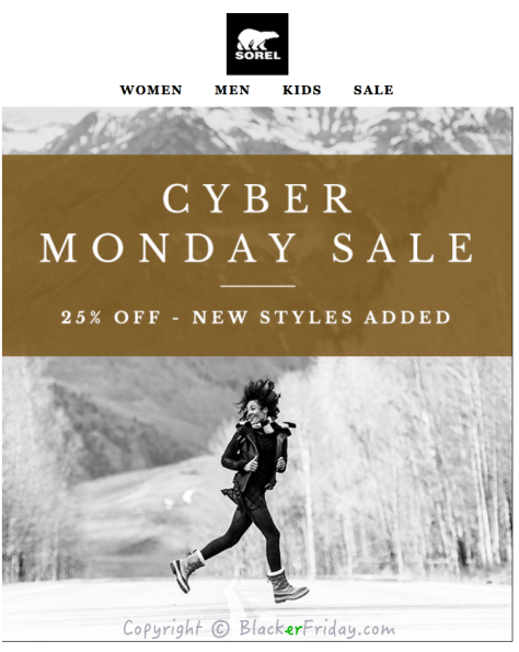 Sorel Cyber Monday Ad Scan - Page 1